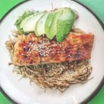 Quick and Easy Asian-Style Rainbow Trout Filet w Sesame Ginger Dressing Enoki Mushrooms & Ripe Avocado