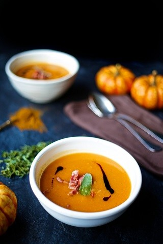 Acorn Squash Soup with Sage & Beef Bacon