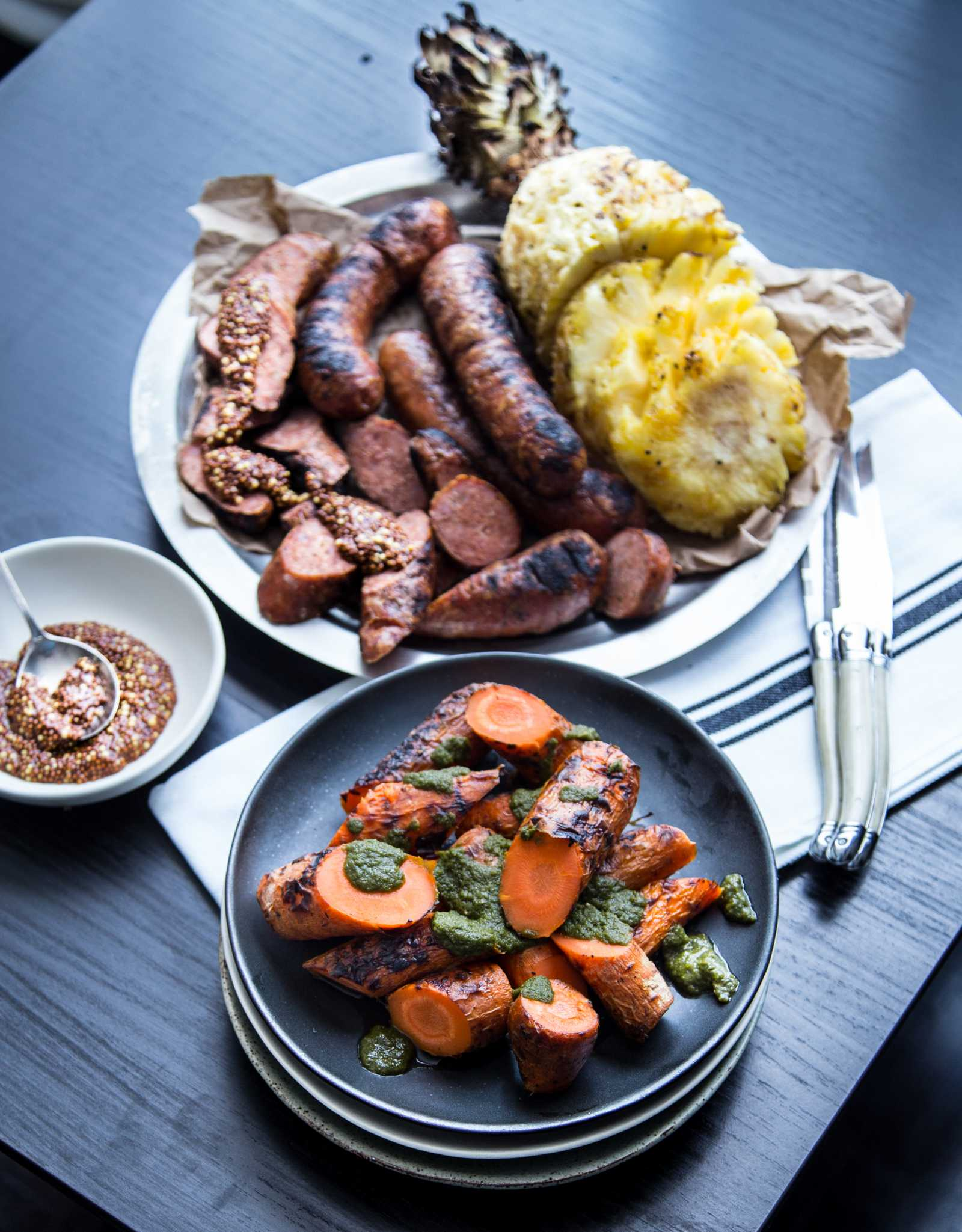 Grilled Carrot, Pineapple & Sausage w/ Chimichurri