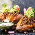 Taco Stuffed Sweet Potatoes, Guacamole Primal Gourmet Cinco de Mayo Recipe Whole 30 Healthy