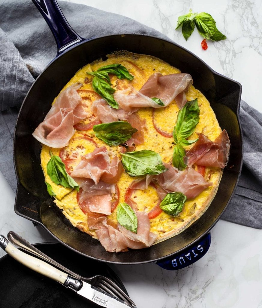 Prosciutto Tomato Basil Frittata Paleo Primal Gourmet Whole 30 breakfast and brunch idea