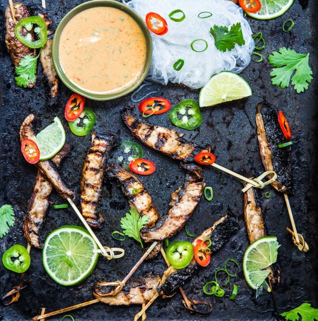 Mushroom Satay Skewer Paleo Primal Gourmet Summer Grill BBQ Ideas vegan