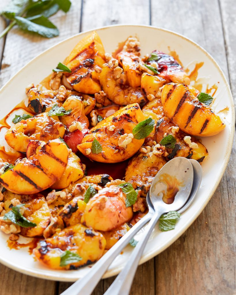 Grilled Peaches Honey and Balsamic Glaze Paleo Primal Gourmet Summer Recipe BBQ