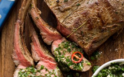 Reverse-Seared Rack of Lamb with Mint Salsa Verde