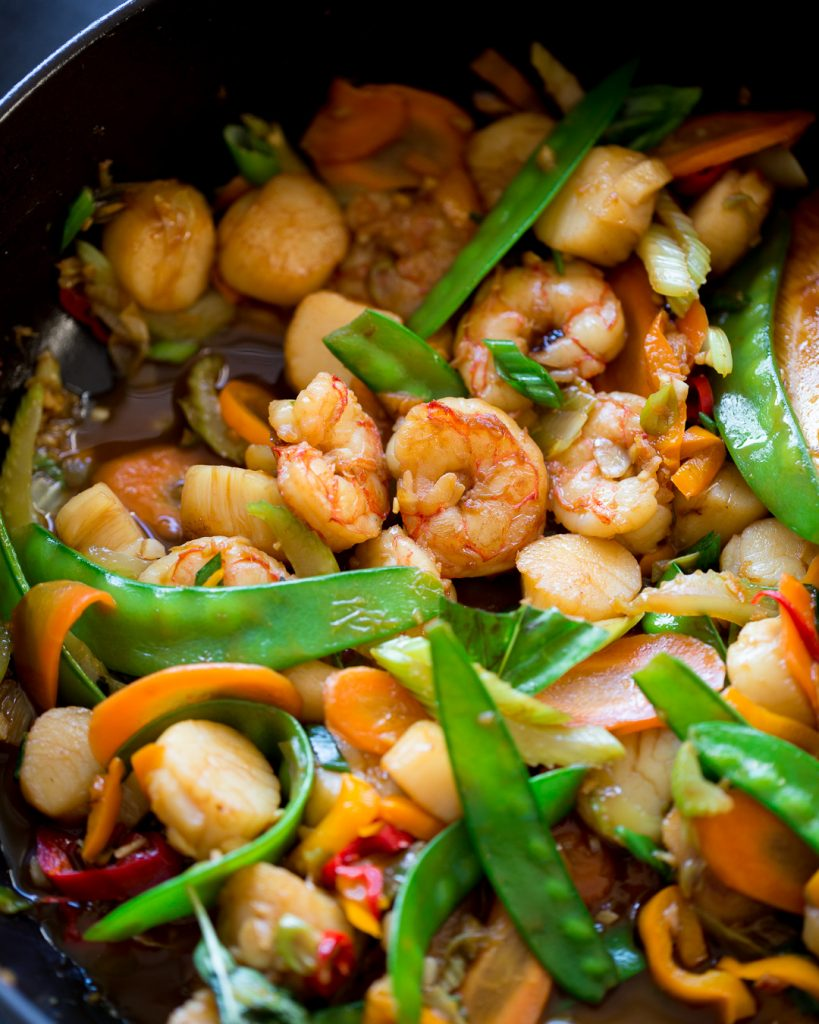 Whole30 Shrimp and Scallop Stir Fry Primal Gourmet Paleo Easy Recipe