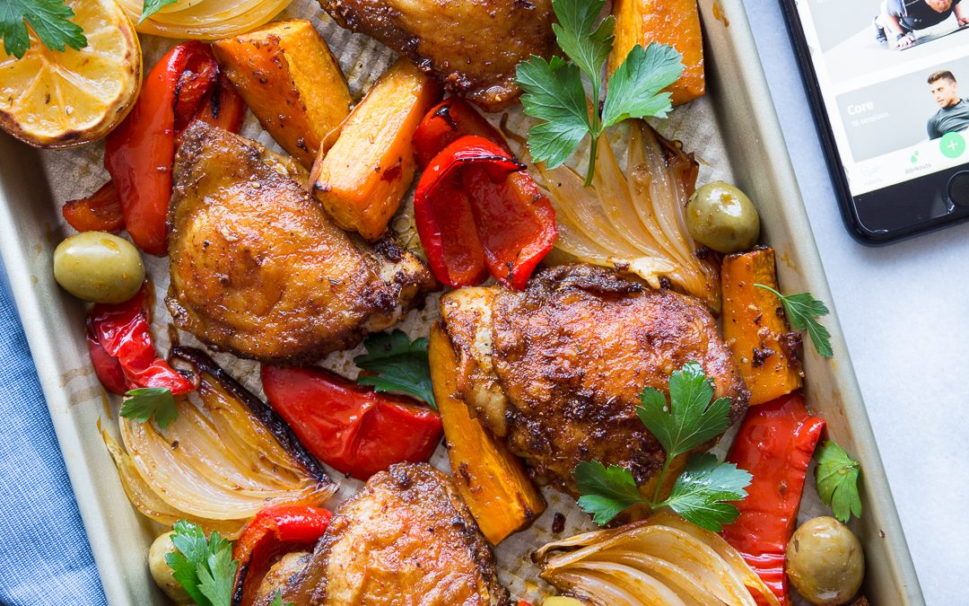 Sheet Pan Spanish Chicken, Sweet Potato & Olives