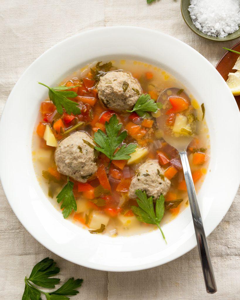 Whole30 Romanian Meatball Soup Ciorba de Perisoare Paleo Primal Gourmet Easy Recipe