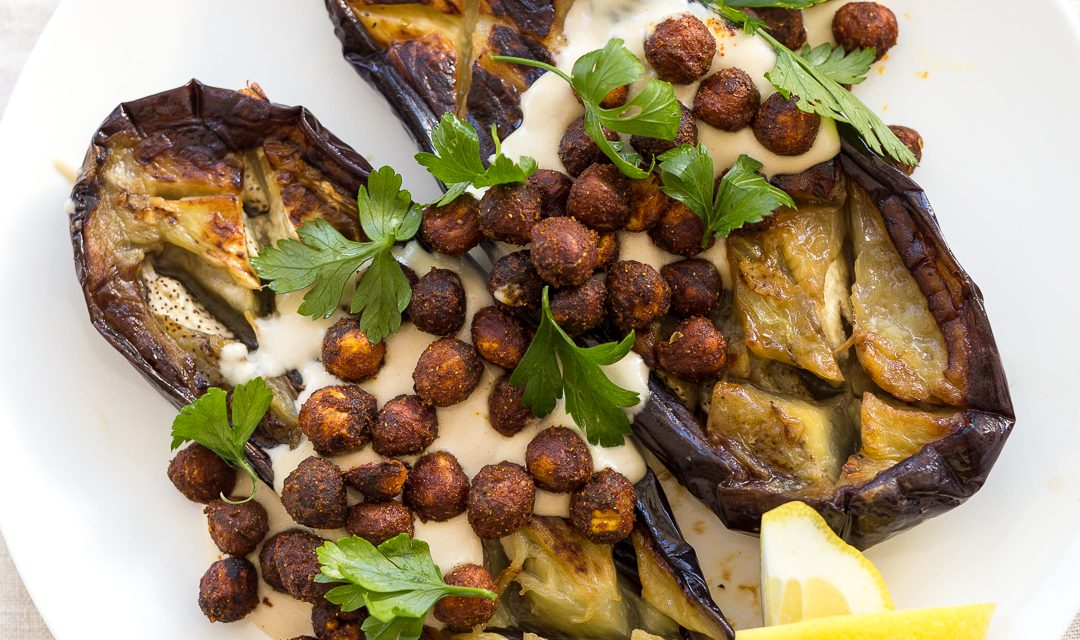Pan-Roasted Eggplant, Spiced Hazelnuts and Tahini – Whole30/Paleo