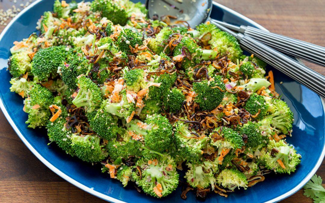 Whole30 Asian Broccoli Salad with Crispy Shallots