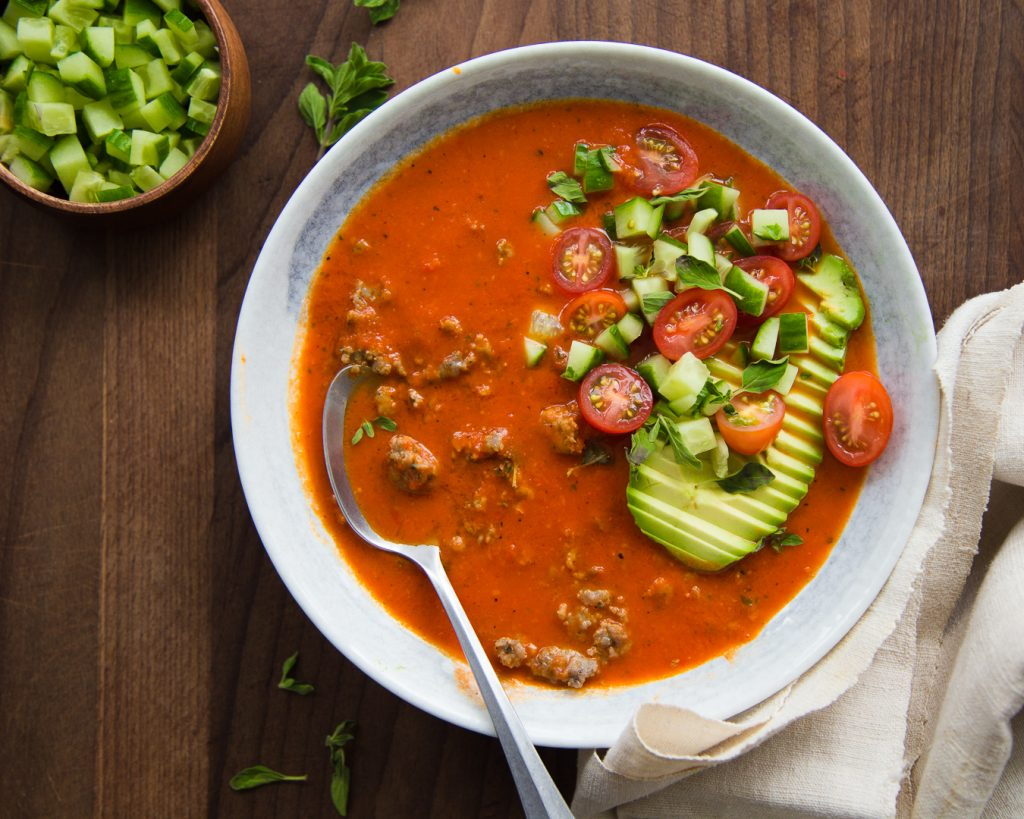 Roasted Red Pepper and Sausage Soup Whole30 Paleo Primal Gourmet Easy Recipe