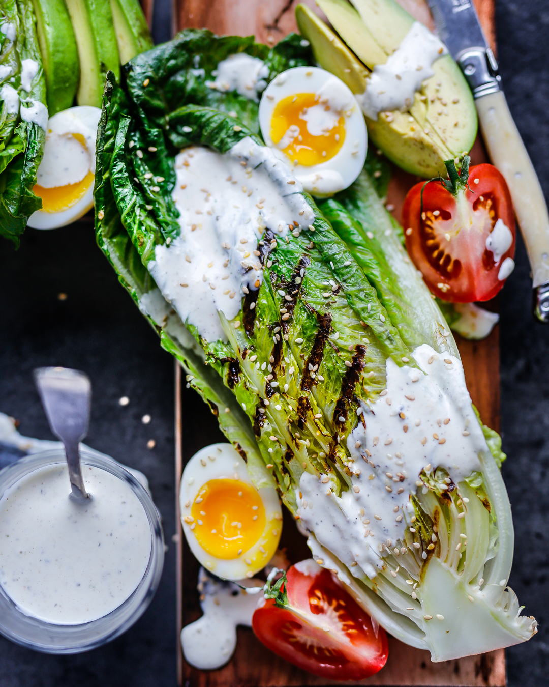 Whole30 Grilled Romaine Ranch Salad