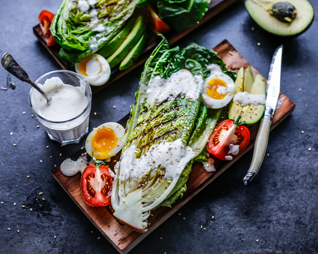 Whole30 Grilled Romaine Ranch