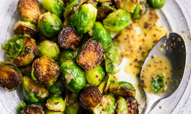 Pan-Roasted Brussels Sprouts with Maple-Mustard Vinaigrette