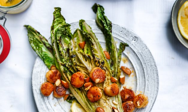 Charred Caesar with Scallops and Almonds