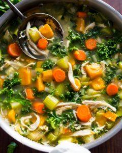 Shredded Chicken Sweet Potato Kale Soup Whole30 Paleo Primal Gourmet Easy Leftovers Thanksgiving Recipe