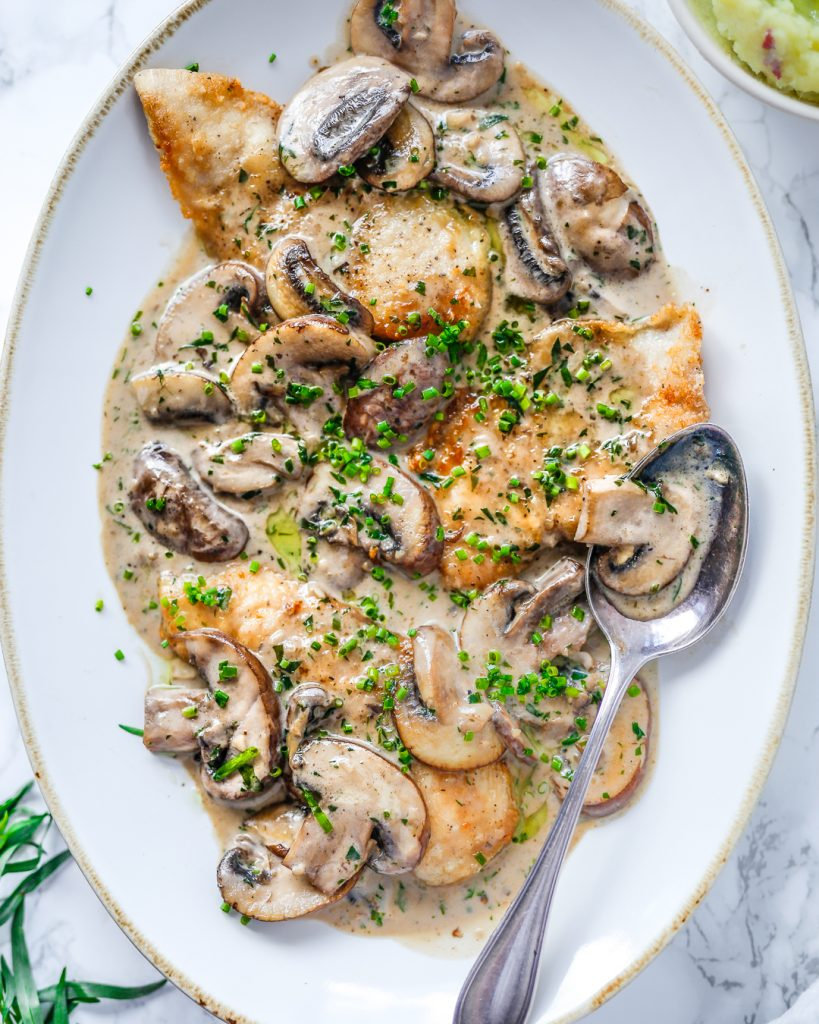 Paleo Chicken Mushroom Tarragon Cream Sauce Whole30 Primal Recipe Easy 20 minute meal summer