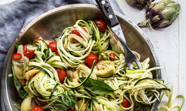 Zoodles Aglio Oglio, Artichoke & Tomato