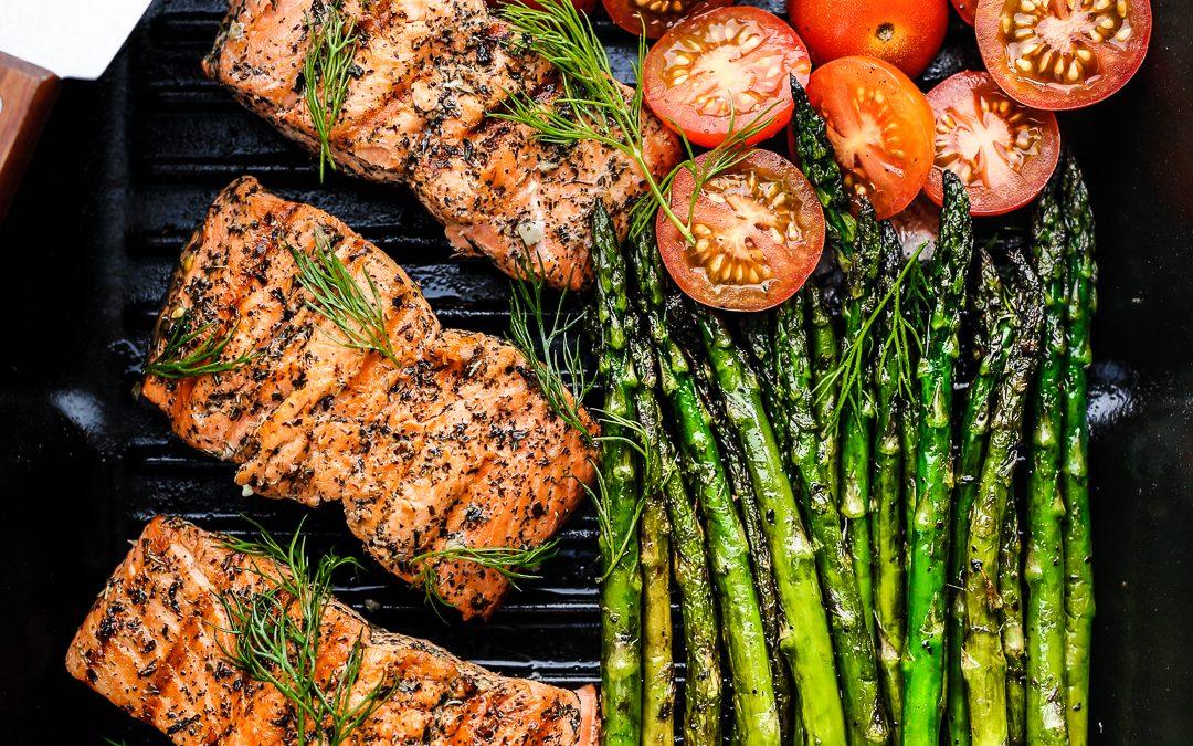 Greek Marinated Salmon with Asparagus