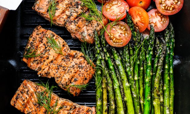 Greek Marinated Salmon with Asparagus
