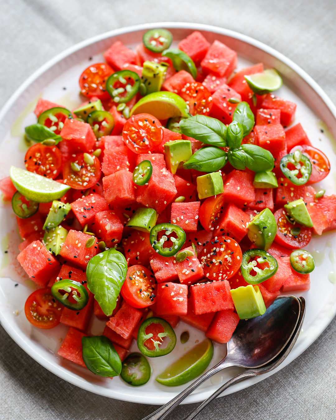Whole30 Watermelon Tomato and Jalapeño Salad