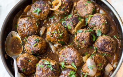Whole30 Salisbury Meatballs with Onion Gravy