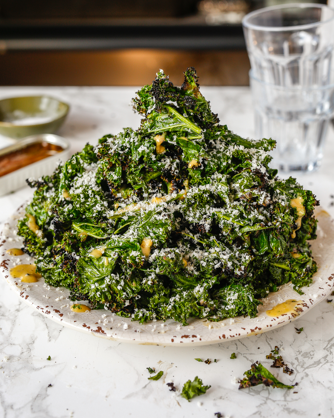 Whole30 Grilled Kale Caesar