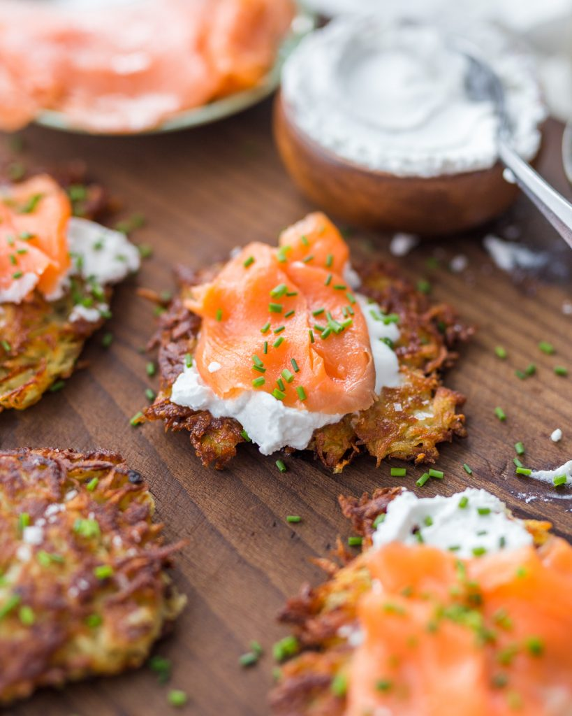 Potato Latkes Pancakes Sour Cream Smoked Salmon Whole30 Primal Gourmet Easy Hannukah Recipe