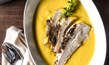 Turkey, Cauliflower Purée and Carrot Soup
