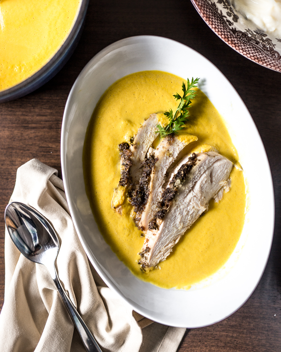 Roast Turkey, Cauliflower Puree and Carrot Soup