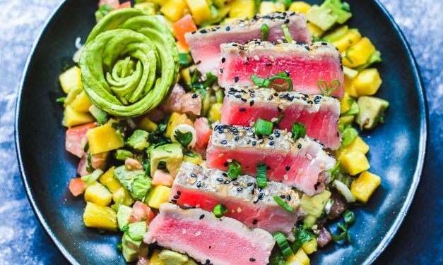 Seared Ahi Tuna with Mango Avocado Salsa