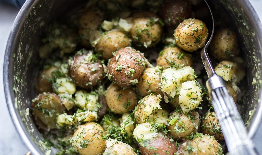 Whole30 Half-Smashed Garlic and Dill Potatoes
