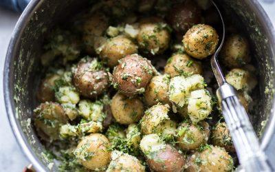 Whole30 Half-Smashed Garlic and Dill Potatoes