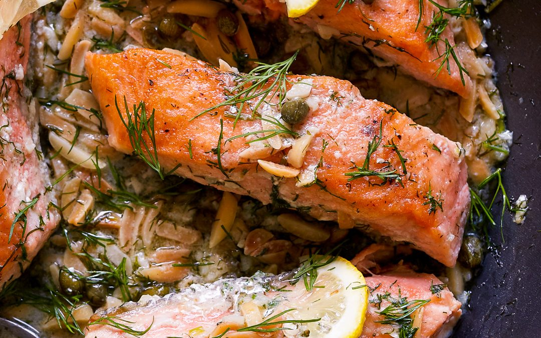 Salmon with Almond Caper Sauce – Whole30, Paleo