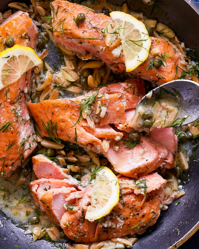 Whole30 Salmon Almond Caper Sauce Paleo Primal Gourmet Easy 15 Minute Dinner Recipe