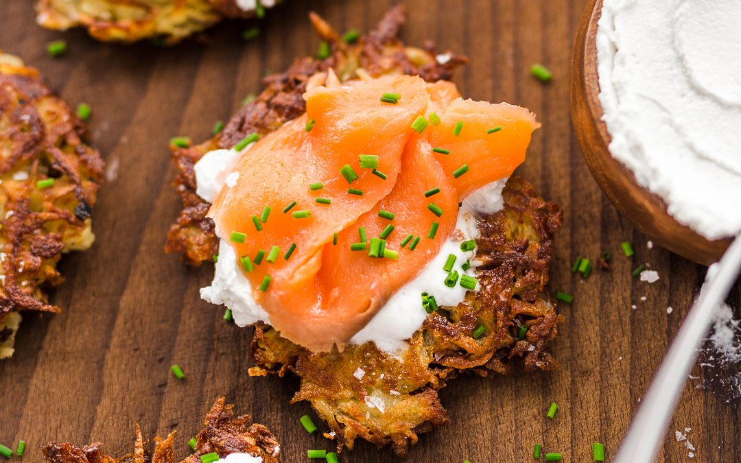 Potato Latkes with 'Sour Cream' and Smoked Salmon – Whole30