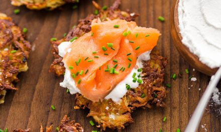 Potato Latkes with 'Sour Cream' and Smoked Salmon – Whole30
