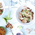 Paleo Zucchini Noodles with Chili-Lime Shrimp and Beef Bacon