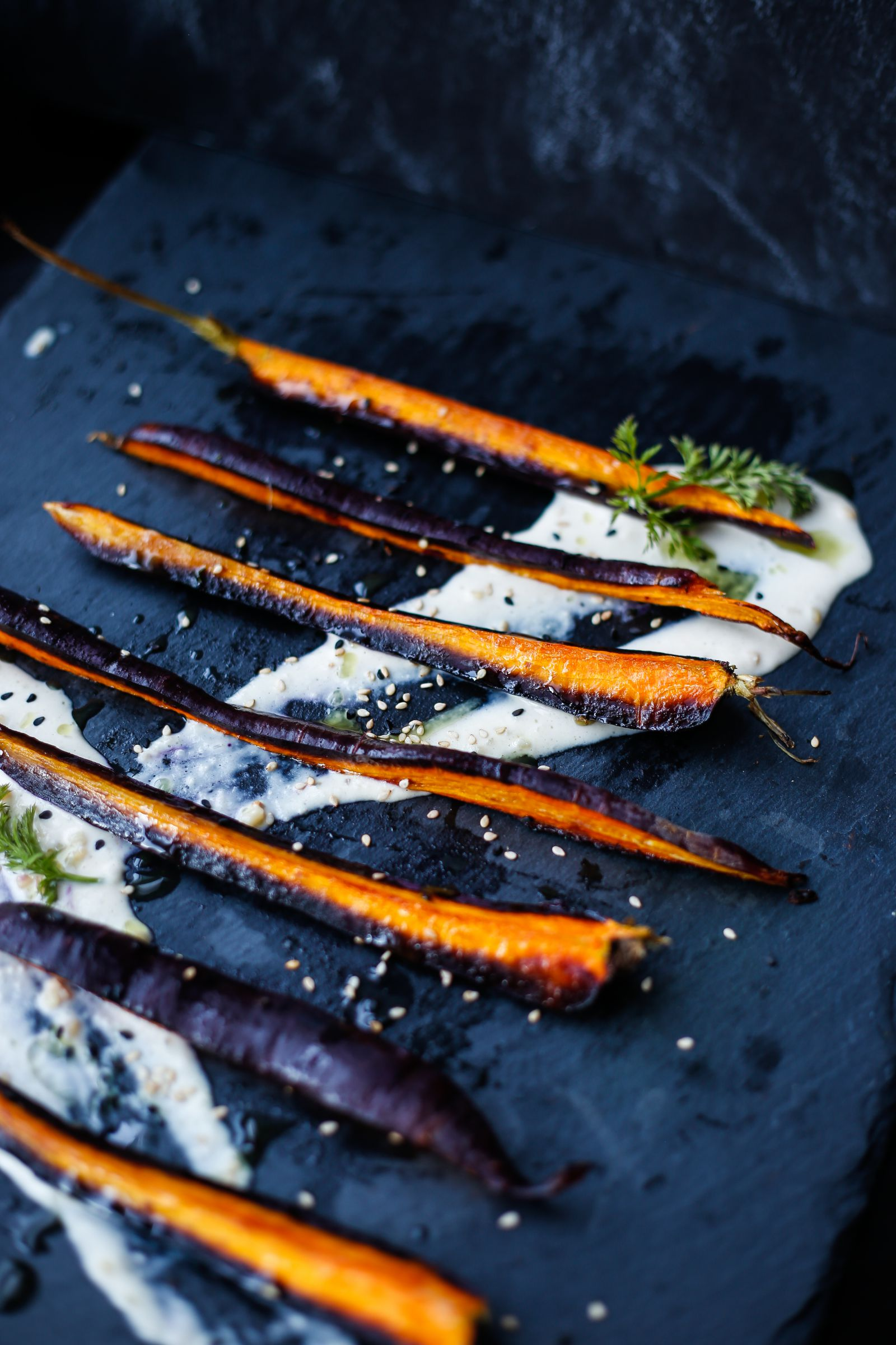 Purple Carrots with Garlic Tahini & Carrot Top Oil