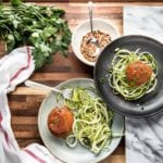 Healthy Paleo Meatballs with Pesto Zucchini Noodles Primal Gourmet
