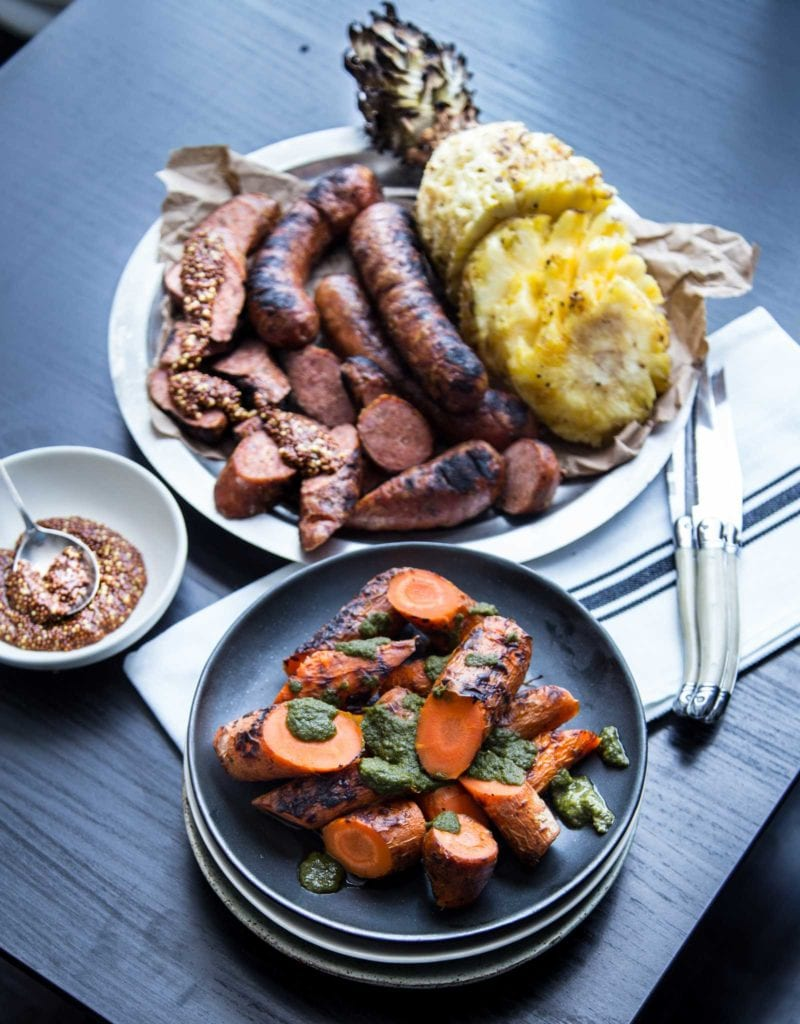 Grilled Carrots pineapple sausage chimichurri argentina bbq paleo whole 30