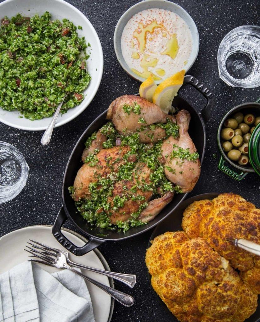 Cauliflower Tabouleh, Roast Chicken, Tahini, Roast Cauliflower Primal Gourmet Paleo Whole 30 recipe