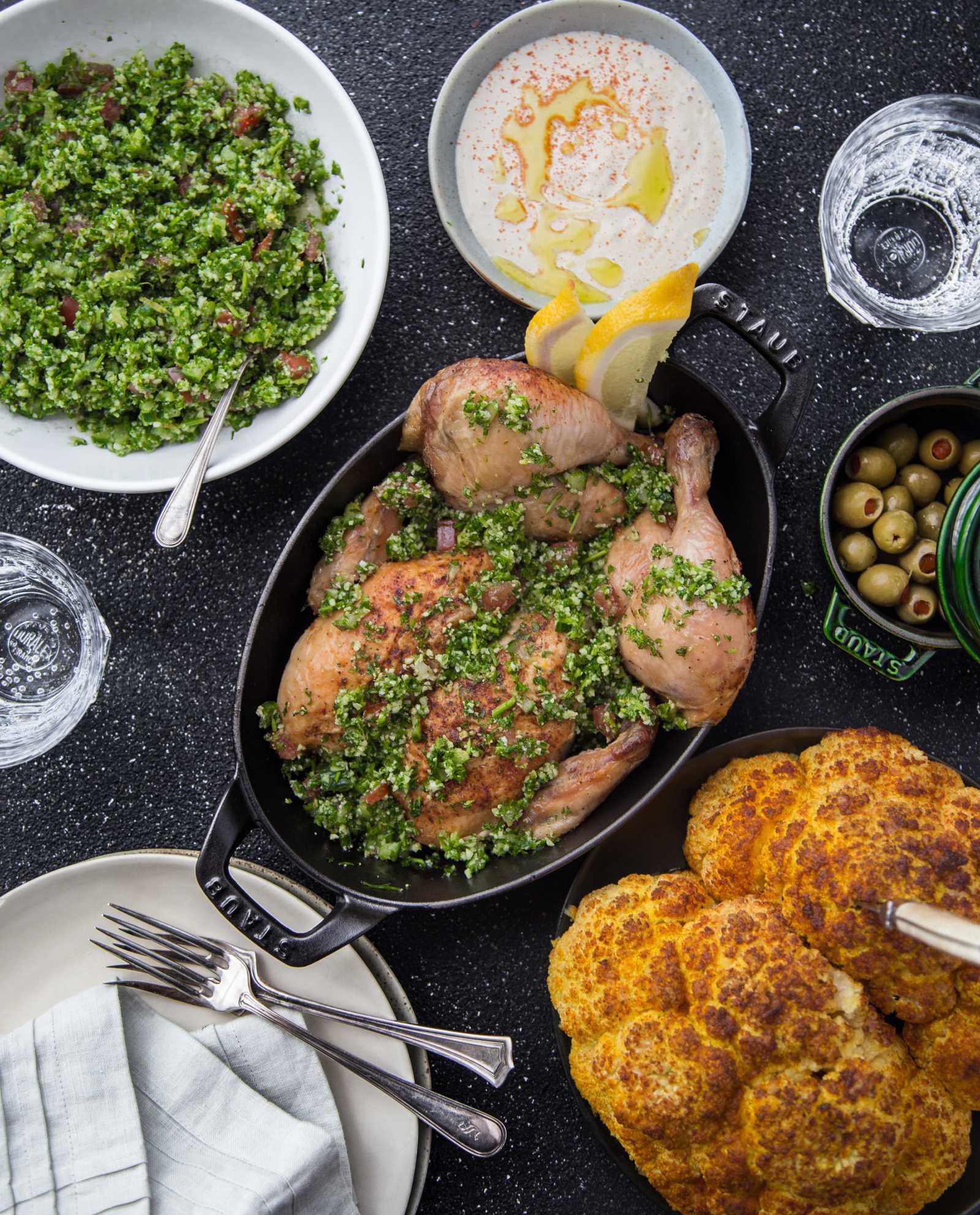 Roast Chicken, Tabouleh, Tahini and Cauliflower