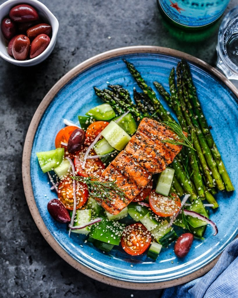 Greek Marinaded Salmon with Asparagus Paleo Primal Whole 30 Easy Dinner Recipe Summer Seafood Best