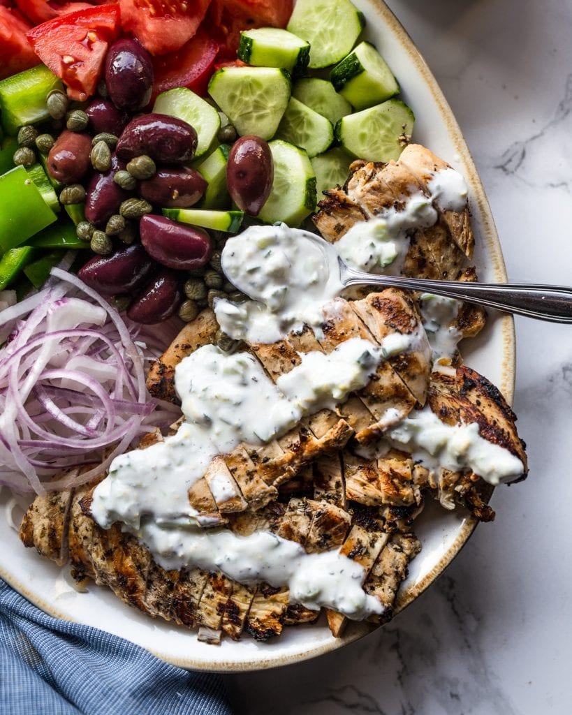 Grilled Chicken Greek Salad with Coconut Tzaziki Paleo Whole30 Healthy Salad Recipe Easy