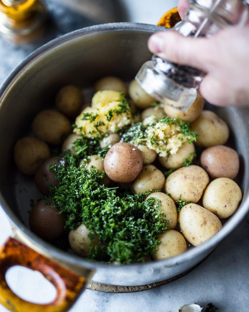 Half-Smashed Garlic Dill Potatoes Whole30 Paleo Primal Gourmet