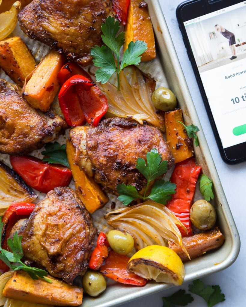 Spanish Sheet Pan Chicken with Sweet Potatoes and Olives Whole30 Paleo Primal Gourmet