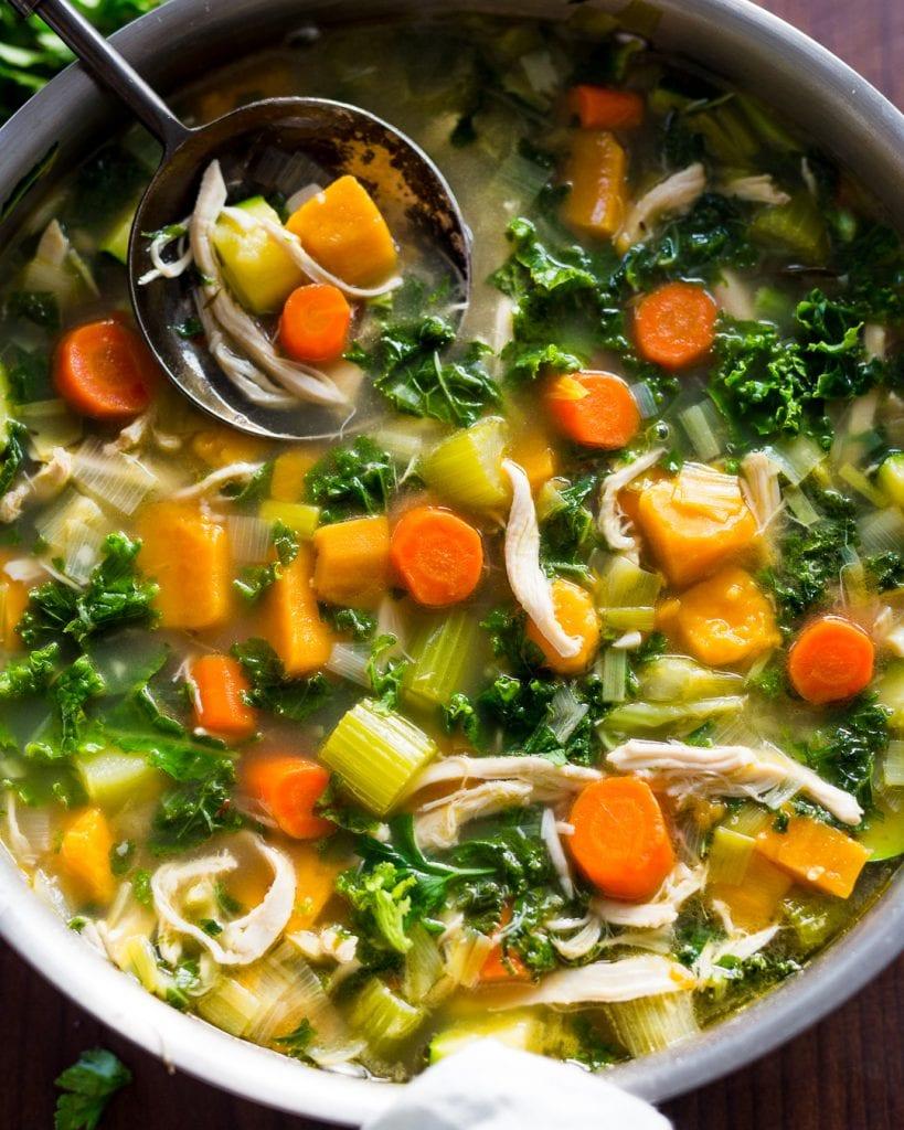 Leftover Turkey Sweet Potato Kale Soup Whole30 Paleo Primal Gourmet Easy Leftovers Thanksgiving Recipe