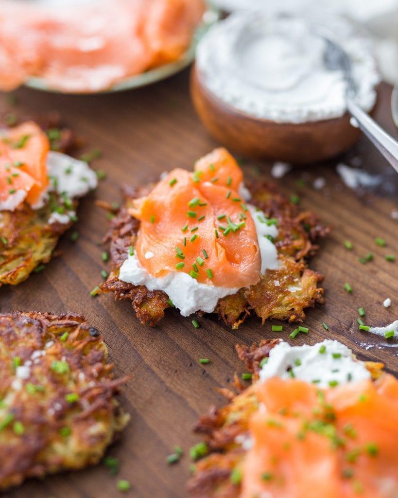 Potato Latkes Pancakes Sour Cream Smoked Salmon Whole30 Primal Gourmet Easy Hannukah Recipe