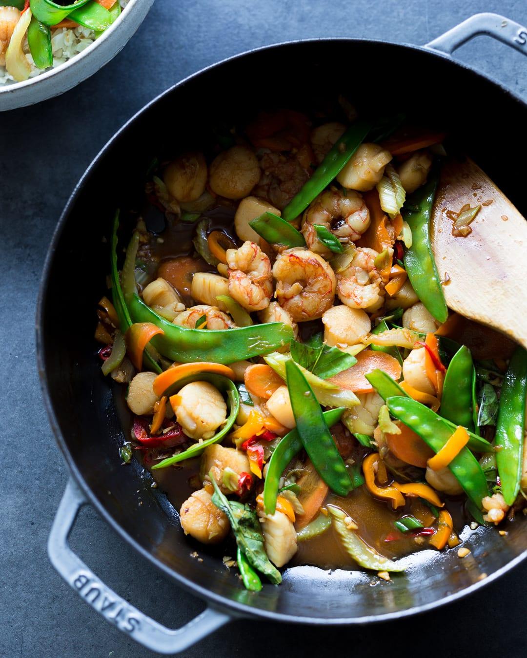 Whole30 Shrimp and Scallop Stir Fry Primal Gourmet Paleo Easy Recipe