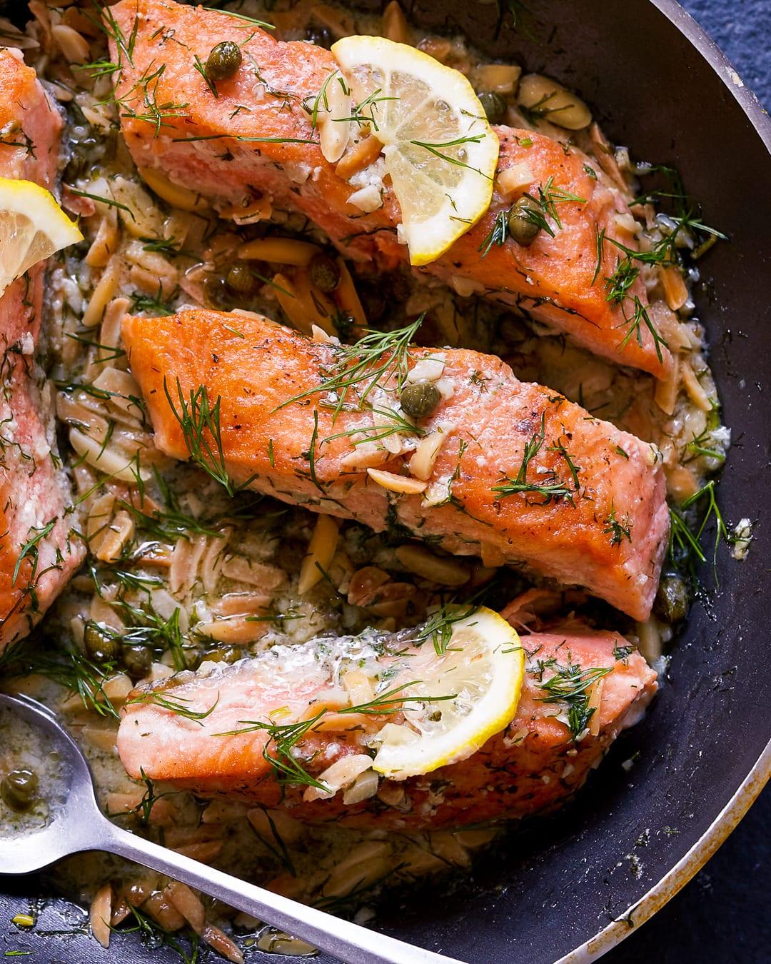 Whole30 Salmon Almond Caper Sauce Paleo Primal Gourmet Easy 15 Minute Dinner Recipe